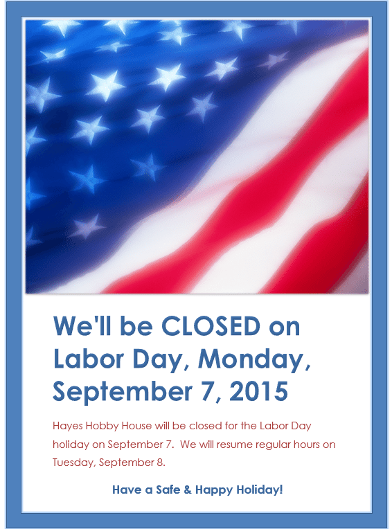 LABOR DAY CLOSED SIGNS 2017