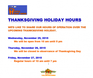 TXGVG HOLIDAY HOURS